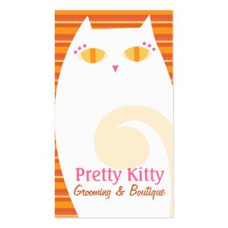 Rayas blancas y anaranjadas del gatito bonito tarjetas de visita