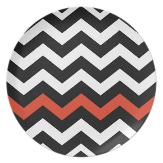 Rayas blancas y anaranjadas negras de Chevron Plato De Comida