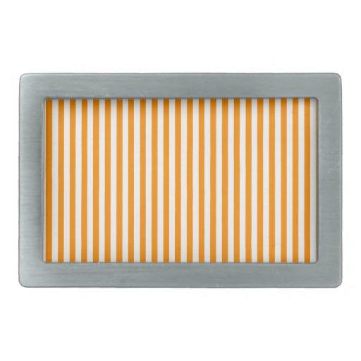 Rayas - blancas y anaranjado oscuro hebilla cinturon rectangular
