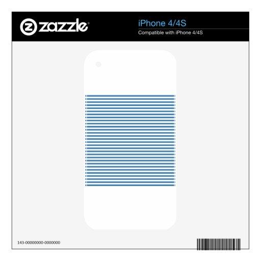 Rayas - blancas y azul de acero skins para eliPhone 4S