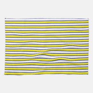 Rayas blancas y azules amarillas toallas