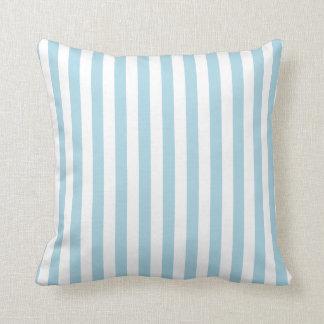 Rayas blancas y azules claras almohada