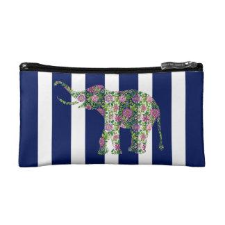 Rayas blancas y azules del elefante floral lindo