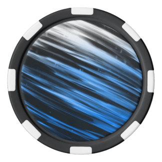 Rayas blancas y azules juego de fichas de póquer