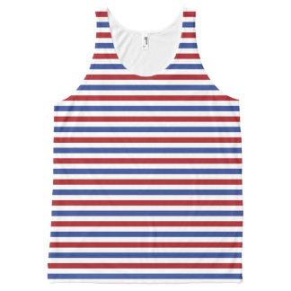 Rayas blancas y azules rojas camiseta de tirantes con estampado integral