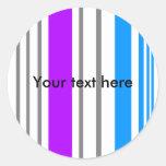 Rayas blancas y azules violetas modernas etiquetas redondas