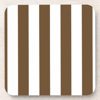 Rayas - blancas y Brown oscuro Posavasos De Bebidas