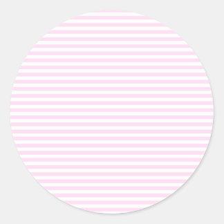 Rayas - blancas y cordón rosado pegatina redonda