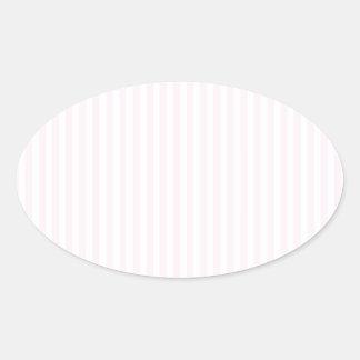 Rayas - blancas y cordón rosado pegatina ovalada