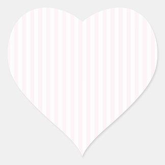 Rayas - blancas y cordón rosado pegatina en forma de corazón
