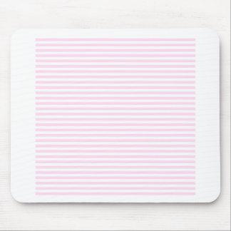 Rayas - blancas y cordón rosado tapete de ratón
