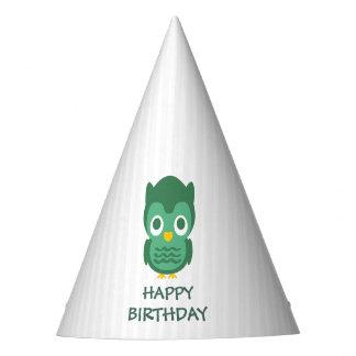 Rayas blancas y cumpleaños del búho verde del bebé gorro de fiesta