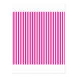 Rayas - blancas y de color rosa oscuro postal