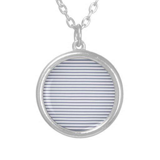 Rayas - blancas y gris fresco collar personalizado
