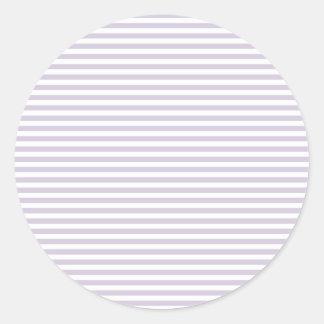 Rayas - blancas y lavanda lánguida etiquetas redondas