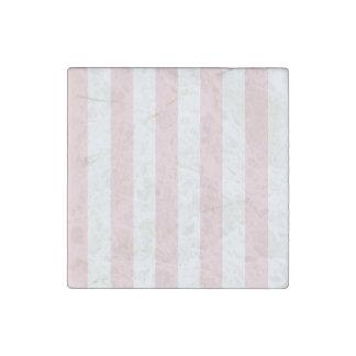 Rayas - blancas y pálidas - rosa imán de piedra