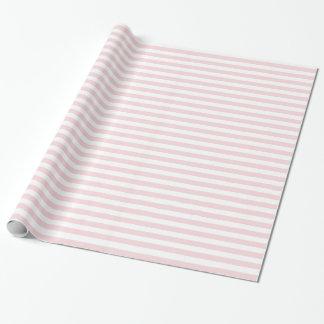 Rayas - blancas y pálidas - rosa papel de regalo
