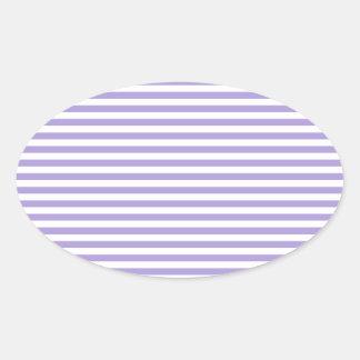 Rayas - blancas y púrpura en colores pastel ligera calcomania óval personalizadas