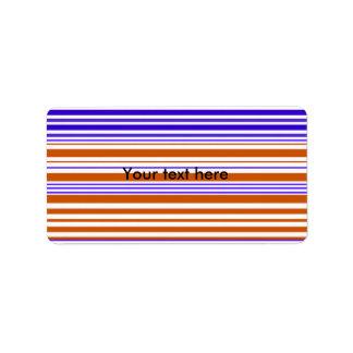 Rayas blancas y púrpuras anaranjadas contemporánea etiquetas de dirección
