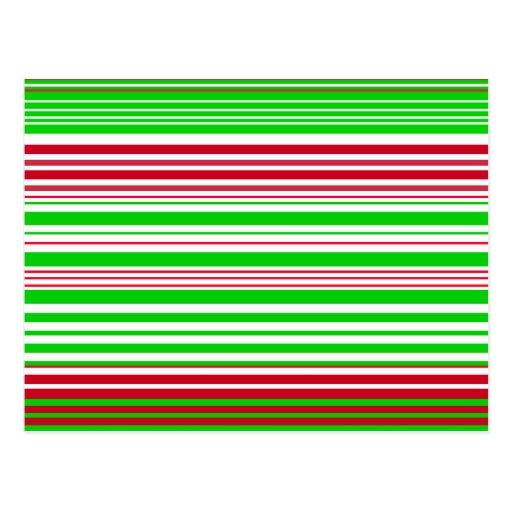 Rayas blancas y rojas verdes contemporáneas postales