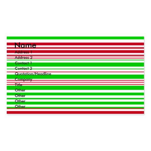 Rayas blancas y rojas verdes contemporáneas tarjetas de visita