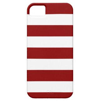 Rayas - blancas y rojo oscuro iPhone 5 fundas