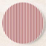Rayas - blancas y rojo oscuro posavasos para bebidas