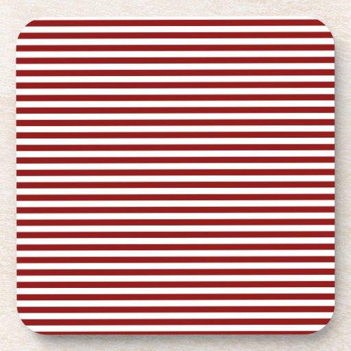 Rayas - blancas y rojo oscuro posavasos