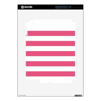 Rayas - blancas y rosa oscuro calcomanía para iPad 2
