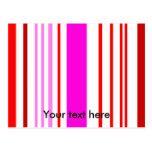 Rayas blancas y rosadas rojas modernas postal