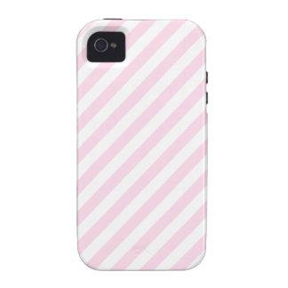 Rayas blancas y rosas claras iPhone 4/4S carcasa