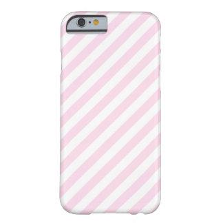 Rayas blancas y rosas claras funda de iPhone 6 barely there