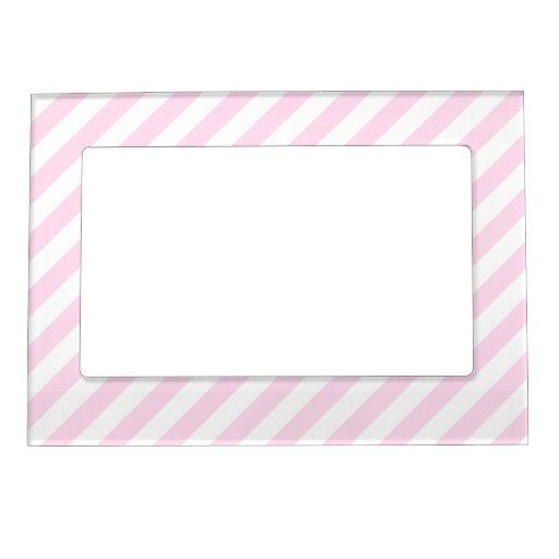 Rayas blancas y rosas claras marcos magnéticos de fotos