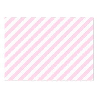 Rayas blancas y rosas claras tarjetas de visita grandes