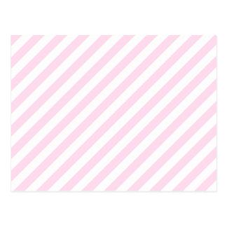 Rayas blancas y rosas claras tarjetas postales