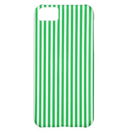 Rayas - blancas y verde en colores pastel oscuro funda para iPhone 5C