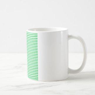 Rayas - blancas y verde en colores pastel oscuro taza de café