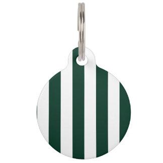 Rayas - blancas y verde oscuro placas para mascotas
