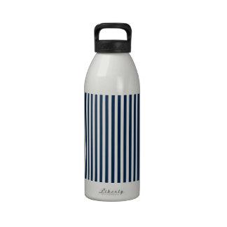 Rayas - blanco y azul de Oxford Botella De Agua
