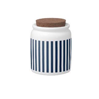 Rayas - blanco y azul de Oxford Jarra Para Caramelo