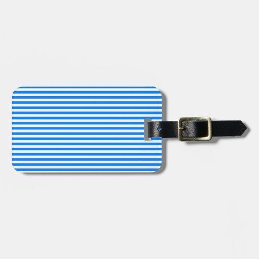 Rayas - blanco y azul etiquetas de maletas