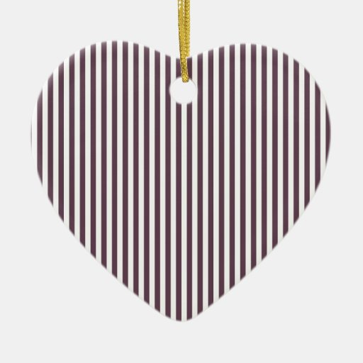 Rayas - blanco y berenjena ornamento para arbol de navidad