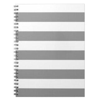 Rayas - blanco y gris libros de apuntes con espiral