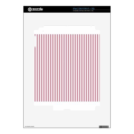 Rayas - blanco y Puce iPad 2 Calcomanía