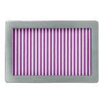 Rayas - blanco y púrpura hebillas cinturon rectangulares