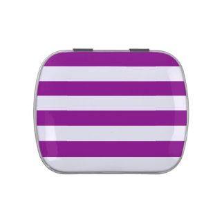 Rayas - blanco y púrpura jarrones de caramelos