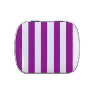 Rayas - blanco y púrpura jarrones de dulces
