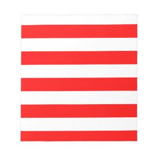 Rayas - blanco y rojo blocs de papel