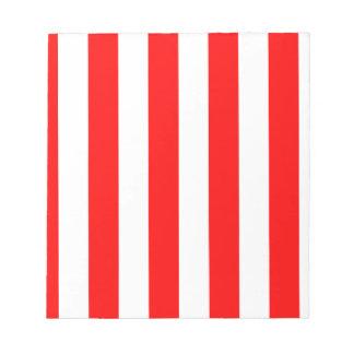 Rayas - blanco y rojo bloc de notas