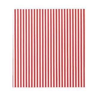 Rayas - blanco y rojo de los BU Libreta Para Notas